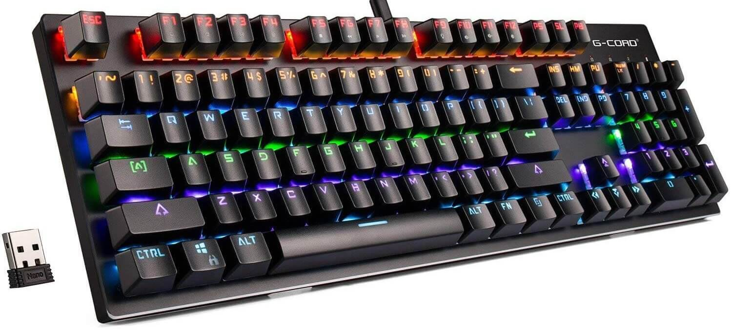 gcord wireless mechanical keyboard rgb backlit
