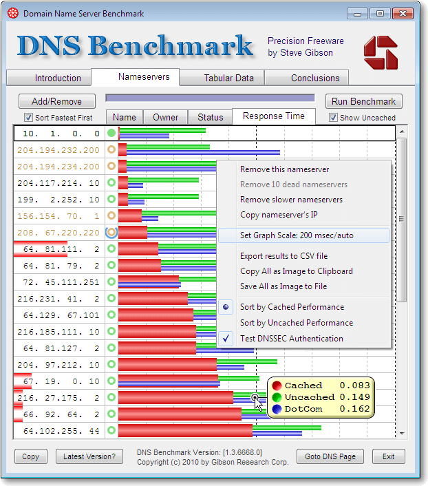 DNS Benchmarking tool
