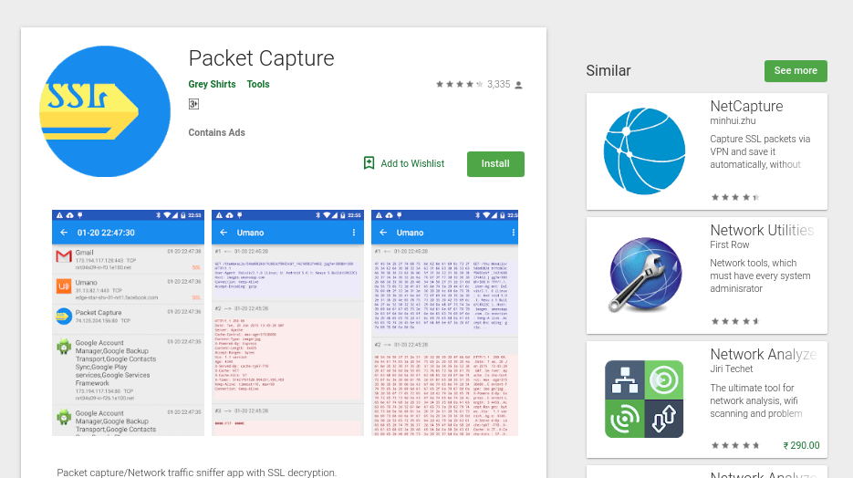 wireshark alternatives for android